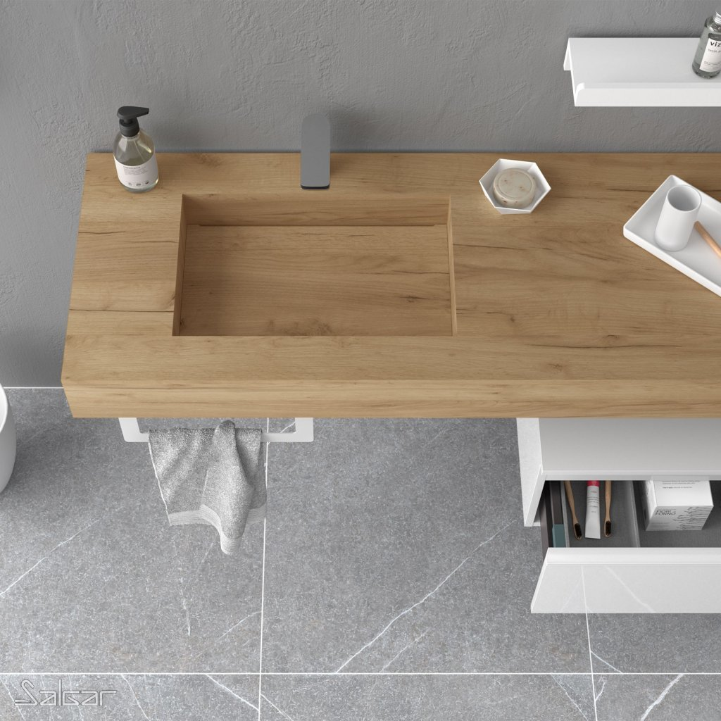 Mobilier vasque en bois salle de bain